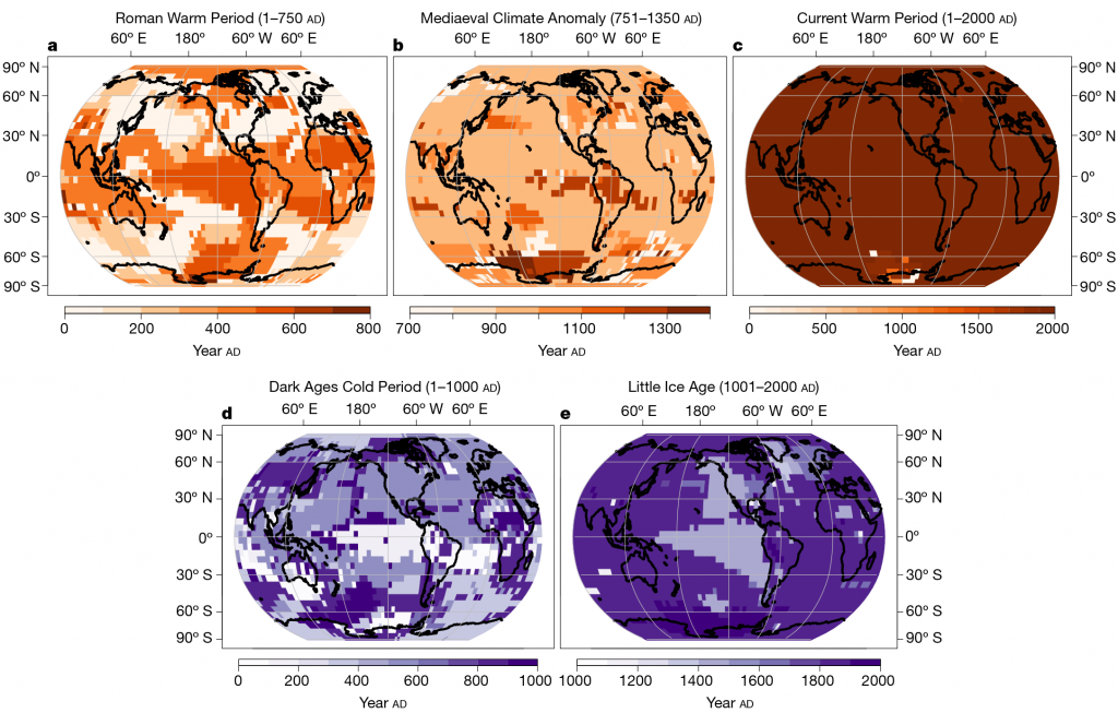 figure from study: maps showing timing of peaks of warm or cool periods for each location in the past with color scale