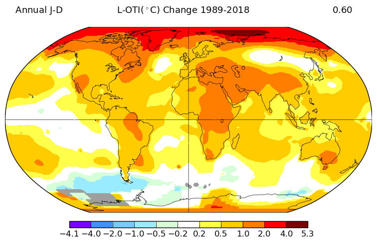 map showing temperature change